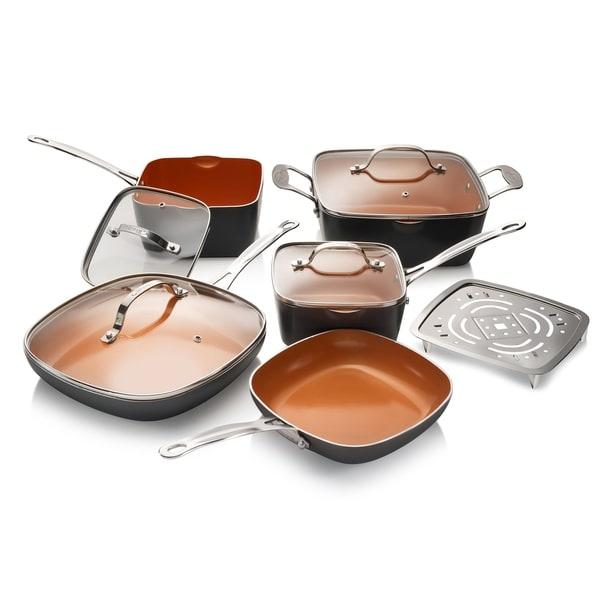 Gotham Steel Square 10 Piece Non-stick Copper Cookware Set. Opens flyout.