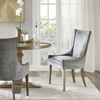 """Madison Park Signature Ultra Dark Grey Dining Side Chair (Set of 2) - 23.25""""w x 24.75""""d x 39""""h"""