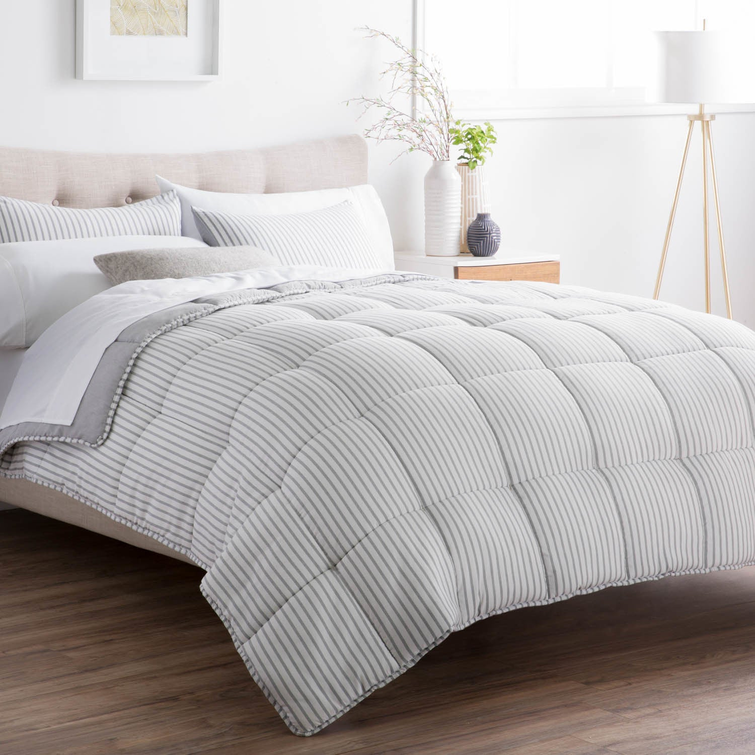 Superieur BROOKSIDE Striped Reversible Chambray Down Alternative Comforter Set (More  Options Available)