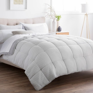 Striped Reversible Chambray Down Alternative Comforter Set by BROOKSIDE (California King - Coastal Gray)