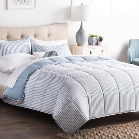 Striped Reversible Chambray Down Alternative Comforter Set by BROOKSIDE