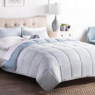 brookside striped reversible chambray down alternative comforter set - Overstockcom Bedding