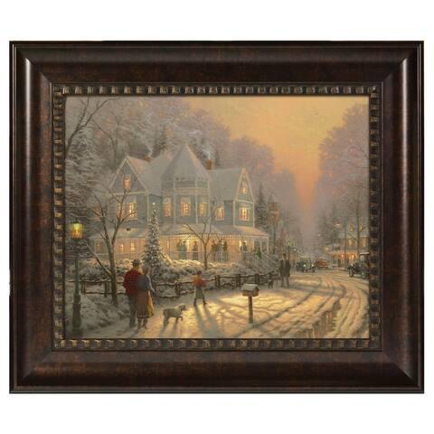 Thomas Kinkade A Holiday Gathering 16 x 20 Brushstroke Vignette