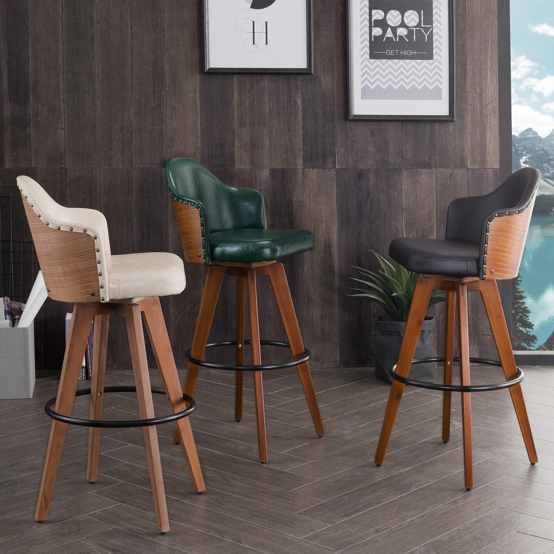 Excellent Corvus Metz Mid Century Bonded Leather Swivel Bar Stool Set Of 2 Cjindustries Chair Design For Home Cjindustriesco