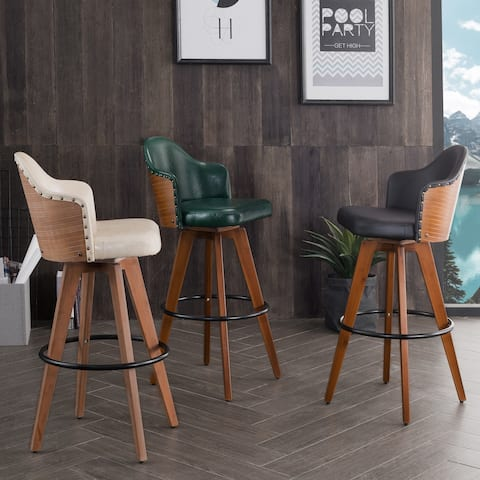 Corvus Metz Mid-Century Bonded Leather Swivel Bar Stool (Set of 2)
