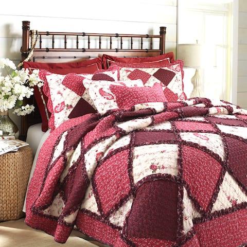 Annabel Heirloom Patchwork 3-Piece Cotton Quilt Set