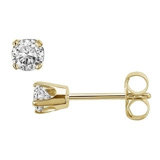 14K Yellow Gold 1/10ct TDW Round Diamond Solitaire Stud Earrings(J-K, I2-I3)