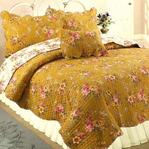 French Country Floral Blooming 3-Piece Cotton Reversible Quilt Set