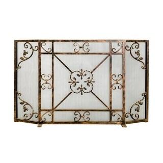 Ornamental Designs Daphne Brown Metal Fireplace Screen