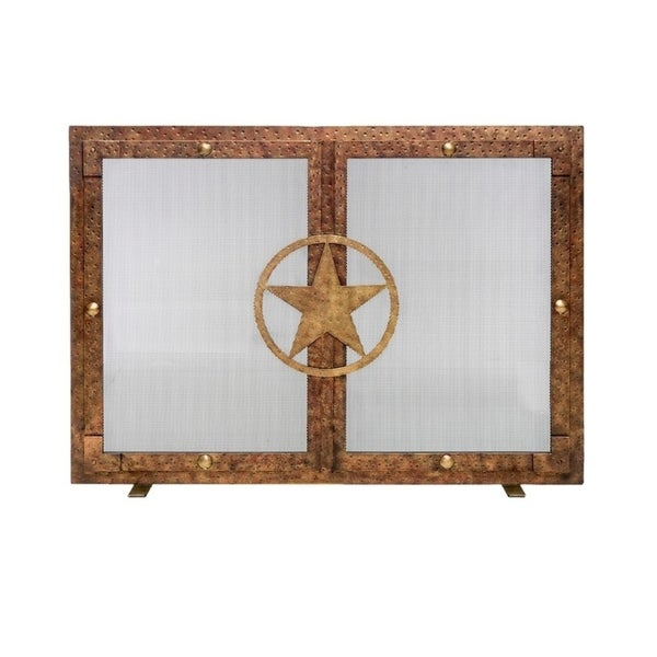Ornamental Designs Lone Star Decorative Brown-finished Hand-forged Steel Freestanding Fireplace Screen