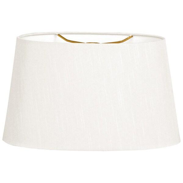 Royal Designs Shallow Oval Hardback Lamp Shade, White, 16 x 18 x 9.5