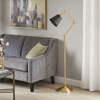Madison Park Signature Brooks Black/ Gold 70-inch Adjustable Floor Lamp with Tapered Shade