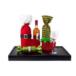 2 Pcs Christmas Stockings - Wine Bags Set - Santa and Elf Boots