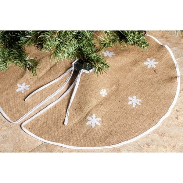 Imperial Home Barnyard Brown Rustic Burlap 36-inch Round White Snowflakes Christmas Tree Skirt
