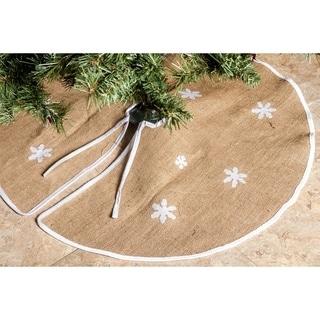 "Barnyard Rustic Burlap Christmas Tree Skirt - 36"" Tree Skirts -Snowflakes"