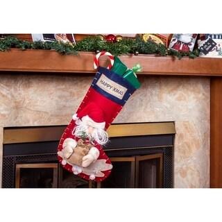 "Ornate 3D Santa Claus Christmas Stockings - 22"" Large Holiday Stockings"