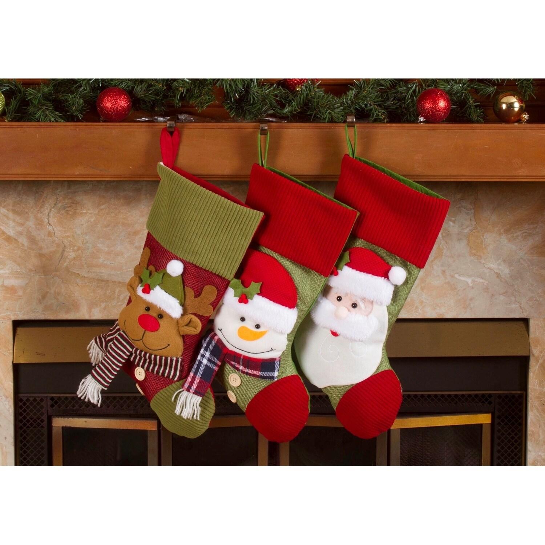 Christmas Fleece.Fleece Christmas Stockings Holders 18 Santa Friends Xmas Stockings 3 Pack