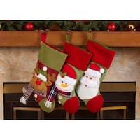 "Fleece Christmas Stockings Holders - 18"" Santa & Friends Xmas Stockings 3 Pack"