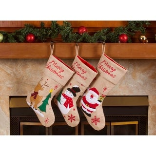 "Burlap Christmas Stockings - 18"" Merry Christmas Burlap Stockings 3 Pack"