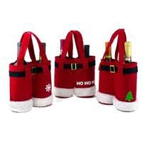 3 Pcs Christmas Wine Bottle Bags or Treat Bags Set - Santa Pants Design