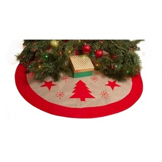 "Burlap Christmas Tree Skirt - 36"" Xmas Tree Skirt - Red Trees & Stars"