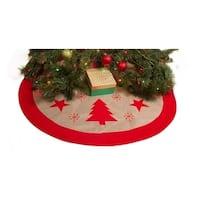 """Burlap Christmas Tree Skirt - 36"""" Xmas Tree Skirt - Red Trees & Stars"""