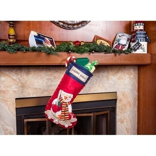 """Ornate 3D Snowman Christmas Stockings - 22"""" Large Holiday Stockings"""