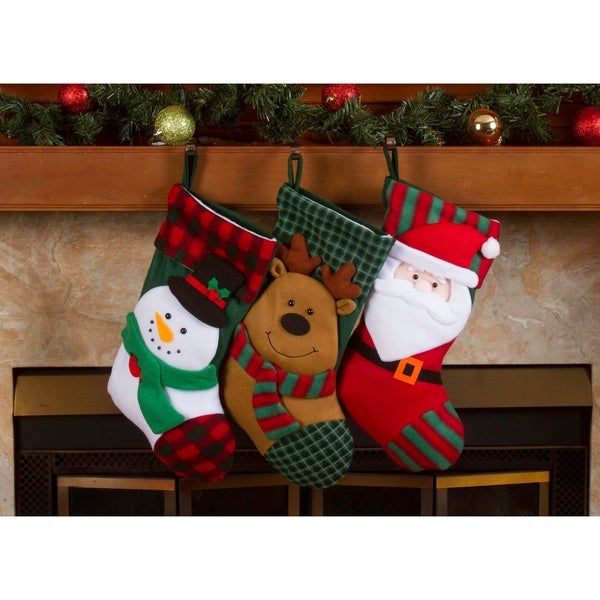 "Shop Christmas Stockings Holders - 18"" Fleece Plaid Santa Xmas Stockings 3 Pack - On Sale - Free Shipping On Orders Over $45 - Overstock - 18271960"