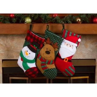 """Christmas Stockings Holders - 18"""" Fleece Plaid Santa Xmas Stockings 3 Pack"""