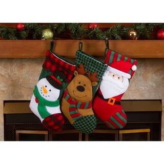 "Christmas Stockings Holders - 18"" Fleece Plaid Santa Xmas Stockings 3 Pack
