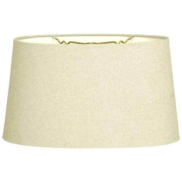 Royal Designs Shallow Oval Hardback Lamp Shade, Linen Eggshell, 16 x 18 x 9.5