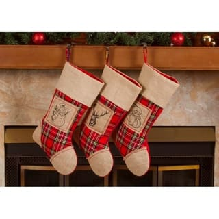 "Burlap Christmas Stockings - 18"" Xmas Santa Burlap Stockings 3 Pack