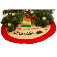 "Burlap Christmas Tree Skirt - 36"" Xmas Tree Skirt - Greeting & Sleigh"