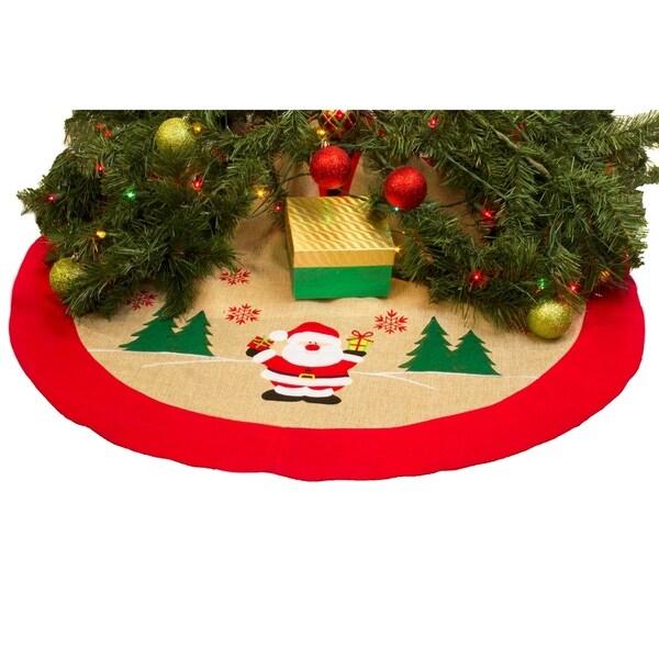 burlap christmas tree skirt 36 xmas tree skirt happy santa claus - Burlap Christmas Tree