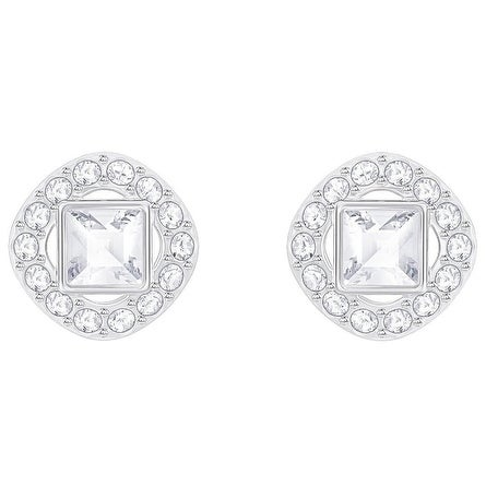 Swarovski Angelic Square Pierced Earrings White Rhodium Plating 5368146