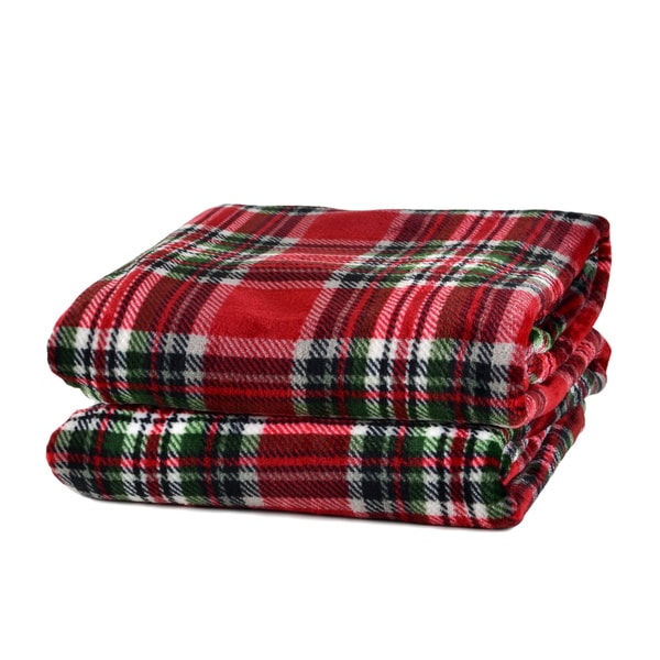 163fcbaa54 Shop Berkshire Blanket Red Holiday Highland Plaid Throw - Free Shipping On  Orders Over  45 - Overstock - 18272391