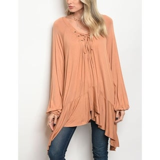 JED Women's Relaxed Fit Lace Up Long Sleeve Tunic Top