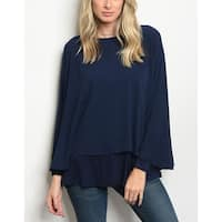 JED Women's Comfy Fit Layered Flowy Tunic Top