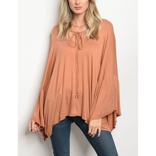 JED Women's Relaxed Fit Bell Sleeve Tunic Top