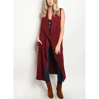JED Women's Burgundy Maxi Vest with Side Pockets