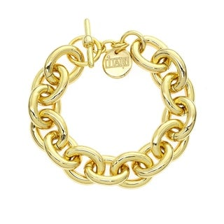 Isla Simone 18K Gold Electro Plated Oval Anchor Link Chain Toggle Bracelet