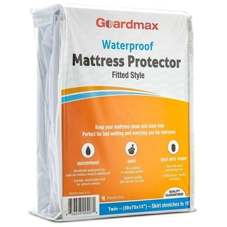 Guardmax Fitted Style Waterproof Mattress Protector Cover - White