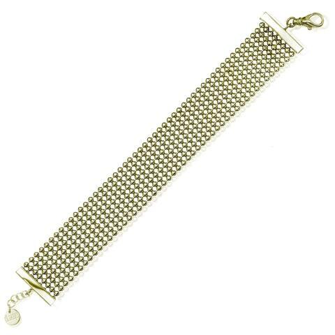 Isla Simone Fine Silver Plated Specchio 24mm Wide Bracelet