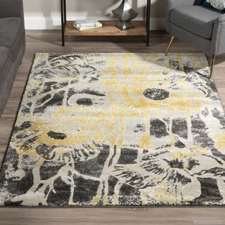 Addison Platinum Yellow/Grey Artistic Floral Area Rug (3'3 x 5'3)