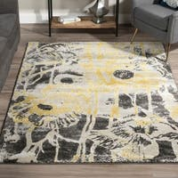 Addison Platinum Artistic Floral Yellow/ Grey Area Rug (9'6 x 13'2)