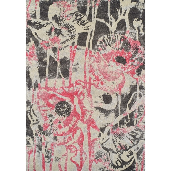 Shop Addison Platinum Artistic Floral Pink Grey Area Rug