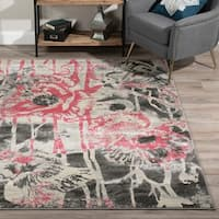 Addison Platinum Collection Pink/Grey Artistic Floral Area Rug (9'6 x 13'2)