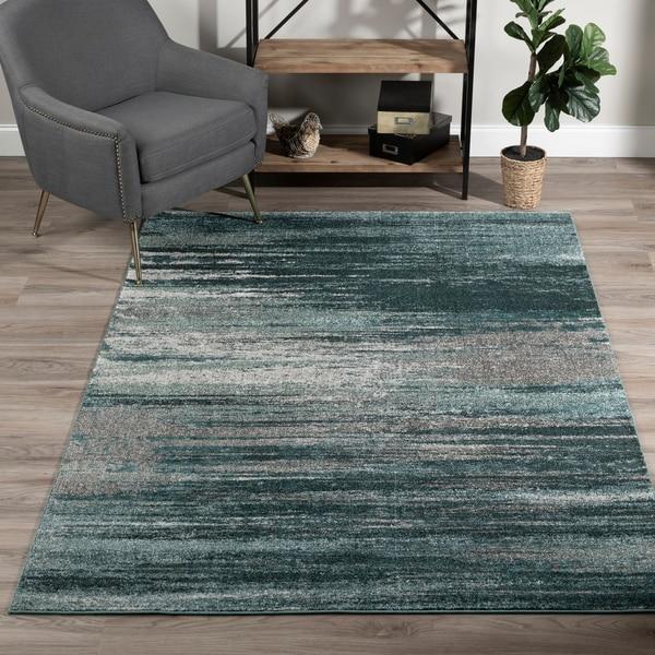 "Addison Platinum Silver/Blue Striped Area Rug (3'3 x 5'3) - 3'3""X5'3"""