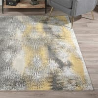 Addison Platinum Collection Dynamic Yellow/Grey Abstract Area Rug - 9'6 x 13'2