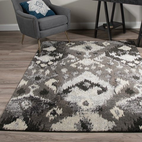 Addison Platinum Ikat Gray/Silver Area Rug (3'3 x 5'3)